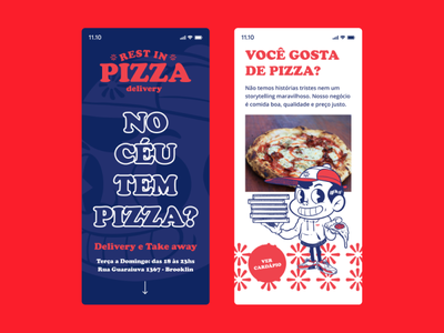 Rest in Pizza Mobile mobile ui brand illustration ux interface webdesign web interface design ui layout design