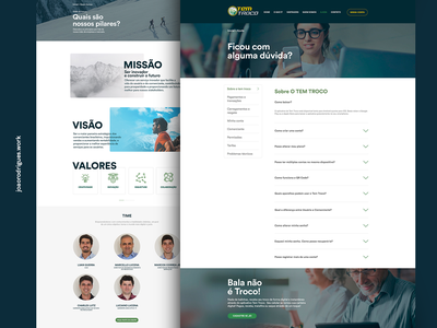 Tem Troco - About and FAQ web page layout xd interface interface design about pages webdesign ui redesign layout design