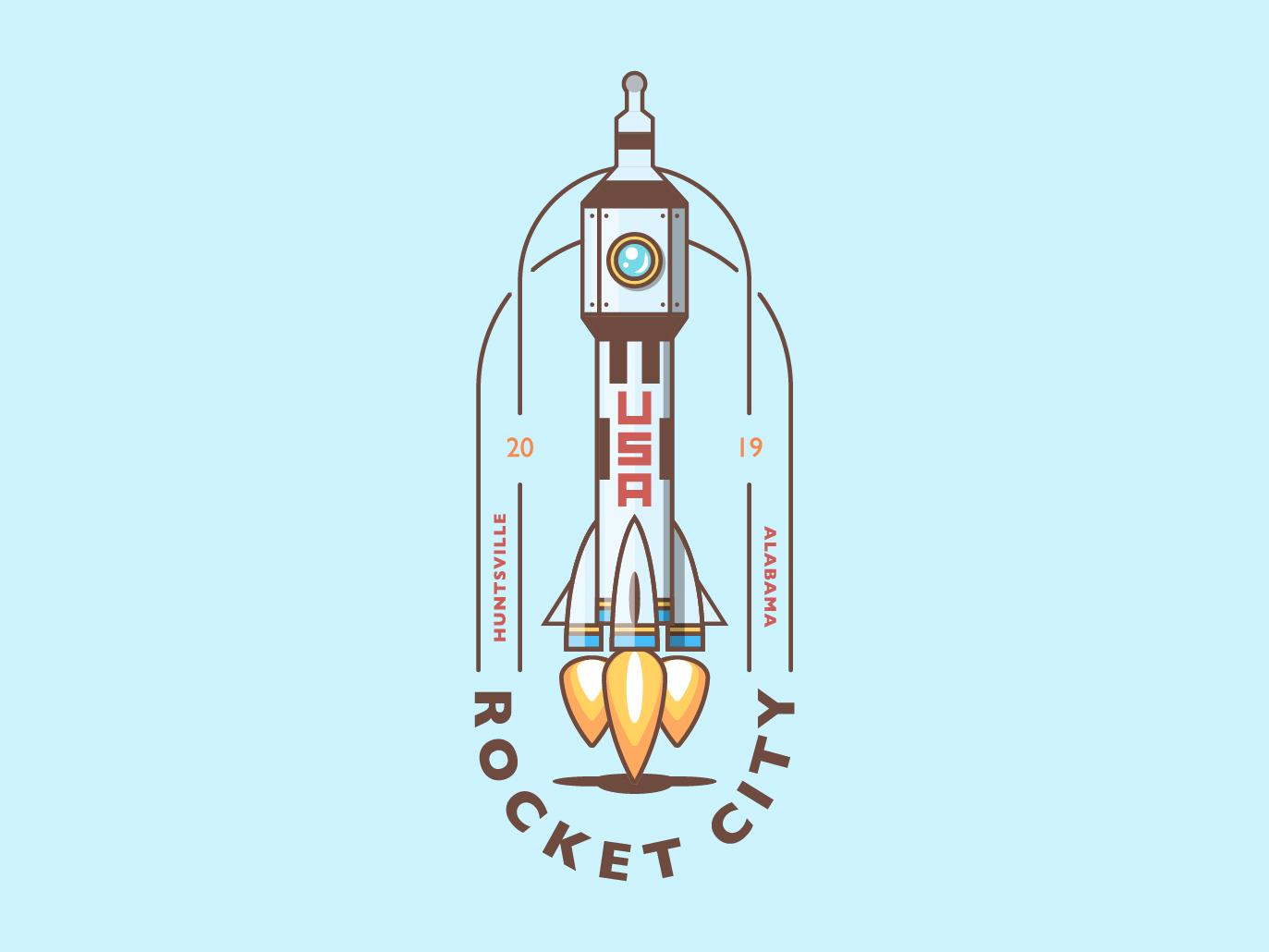 Rocket City city spaceship space rocket badge logo design illustration