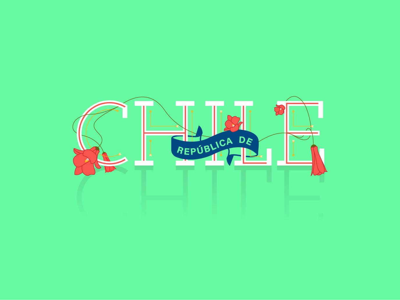 República de Chile type design chile badge logo illustration typography vector design