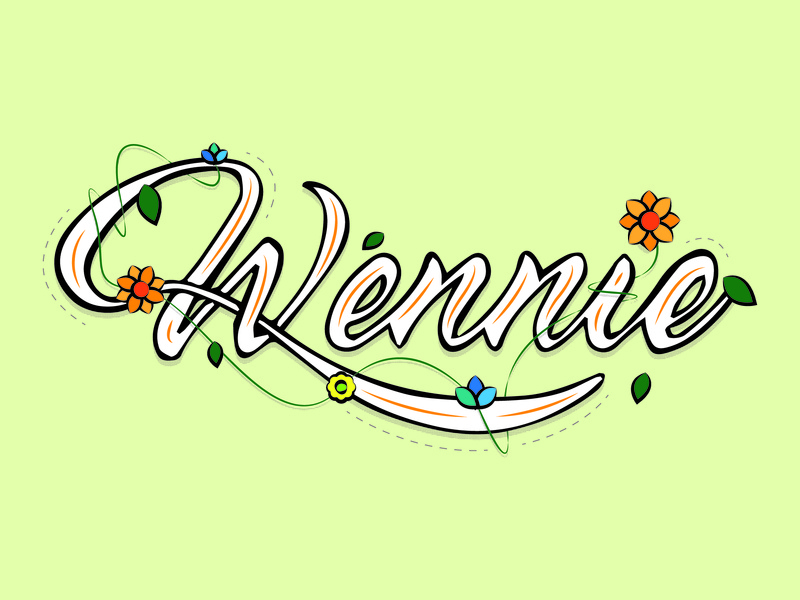 Wennie flowers lettering type design vector branding typography design
