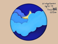 Moon in the Cloud with Digital Paper-Cut Effect procreate 100daysofillustration 100daychallenge papercut illustration