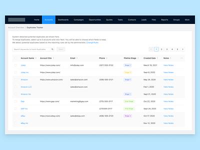 Track and merge duplicate records in CRM - Step 1 ui design desktop app design challenge enterprise ux crm