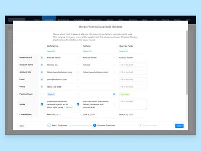 Track and merge duplicate records in CRM - Step 5 ui design design challenge desktop app enterprise ux crm