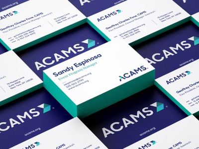 ACAMS Business Cards wordmark teal navy rebrand business card identity logo design
