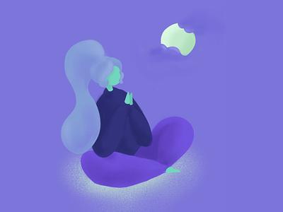 Moonlight Meditation digital illustration purple procreate app character drawing procreate art procreate illustration