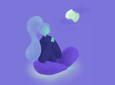 Moonlight Meditation digital illustration purple procreate app character drawing procreate art procreate illustration