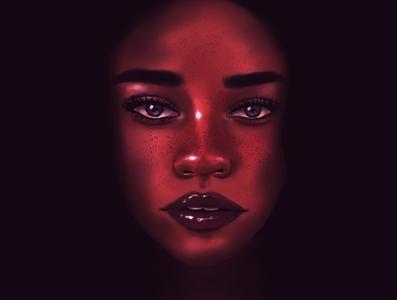 Burgundy Portrait procreate character illustration digital illustration