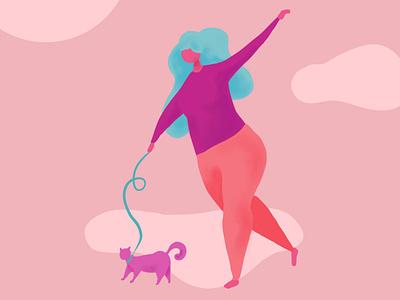 Walking the Cat procreate illustration digital illustration character