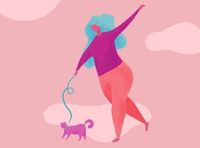 Walking the Cat procreate illustration digital illustration character