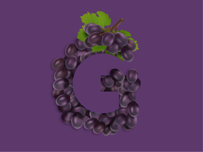 G for Grape grapes lettering vector art typography
