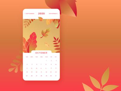 October Calendar UI fall seasons autumn vector digital illustration illustration design calendar app gradient foliage leaves october calendar 2020 calendar ui calendar