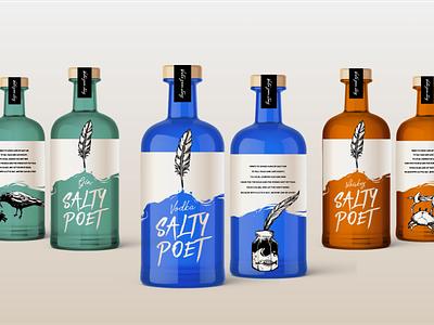 Salty Poet vodka packaging whiskey alcohol identity branding packagedesign