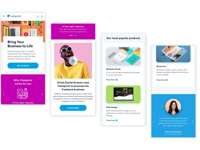 Vistaprint Homepage redeisgn homepage web design colorful ux ui