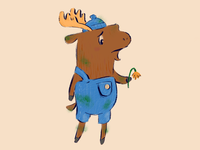 Moose with Flower