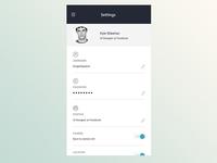 User landing Page - Settings