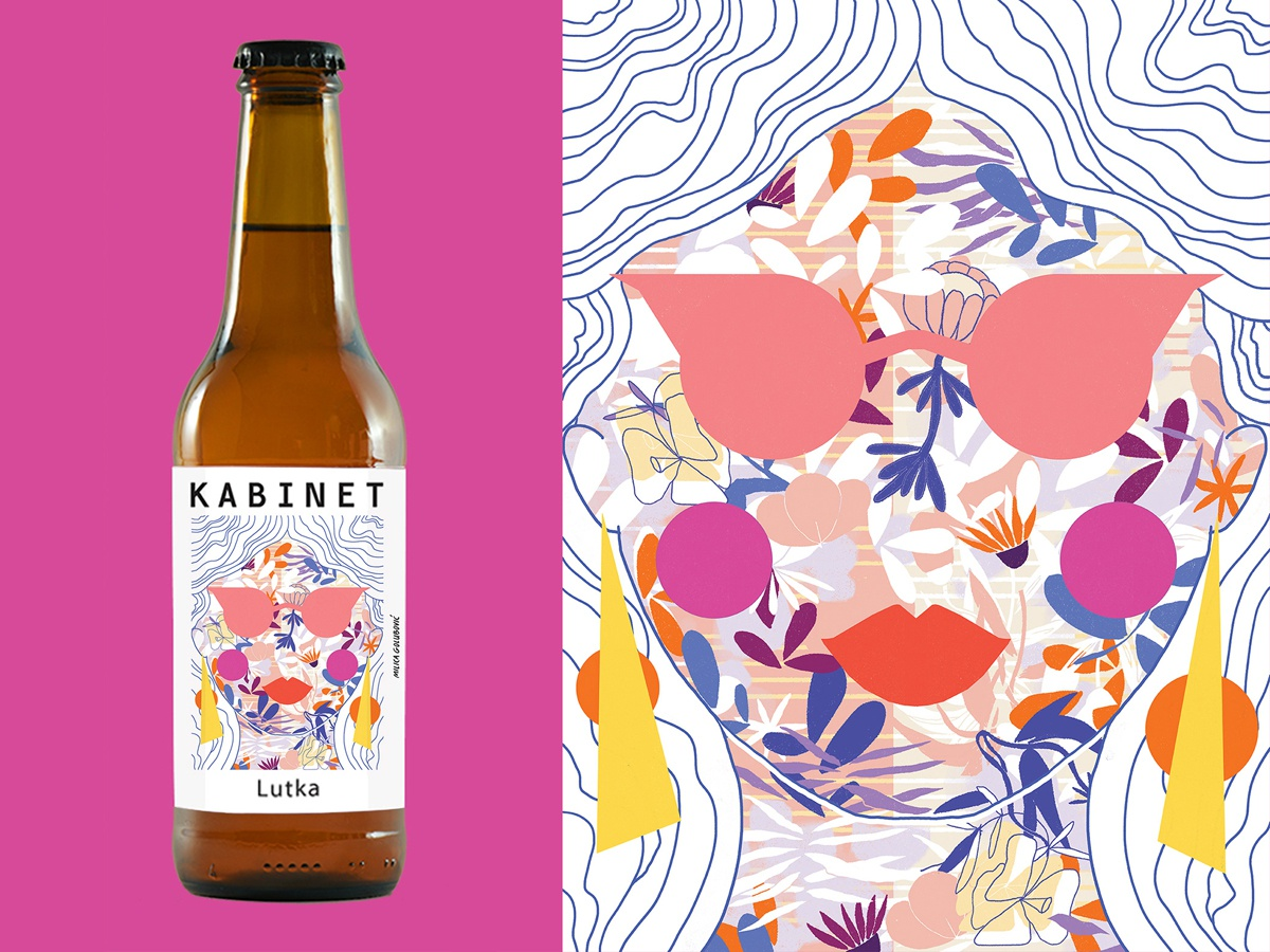 Label illustration for Kabinet's Brewery new beer kabinet brewery beer label craft beer beer design plants retro geometric milica golubovic abstract illustration