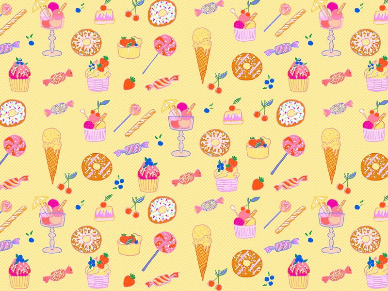 Sweets pattern design retro milica golubovic summer donuts colorful fruit blueberry cherryblossom strawberry lollypop pattern illustration ice cream sugar food sweets candy