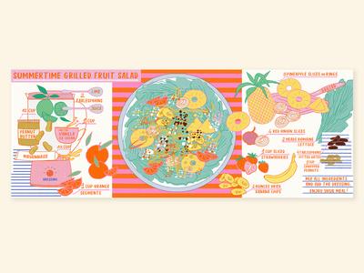 Food Illustration | Summertime grilled fruit salad