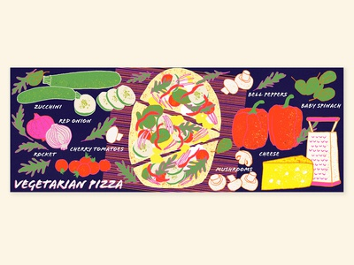 Food Illustration | Vegetarian pizza