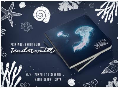 "Digital Template of Photo Album ""Underwater"" adobe illustrator adobe indesign adobe photoshop deep blue trendy design printable digital template professional jellyfish coral photobook photoalbum"