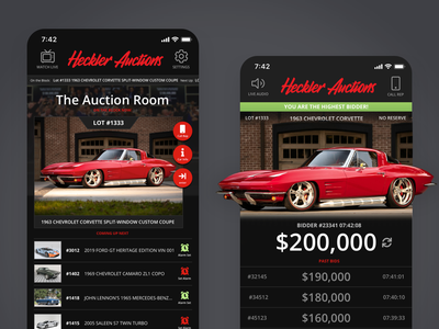 Live Auction App Concept android app ios app web ux app ui design