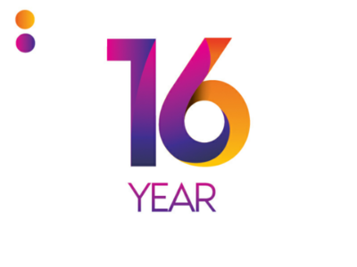 16 year number mark icon gradient