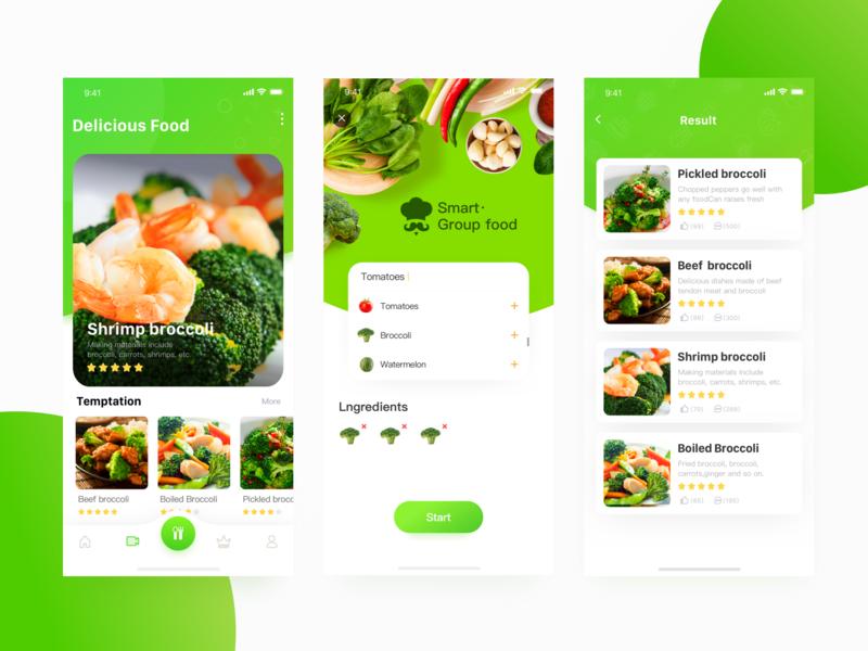 Intelligent group dish page design food app ue ux ui