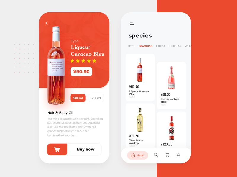 Wine shopping store wine bottle wine ue ux ui