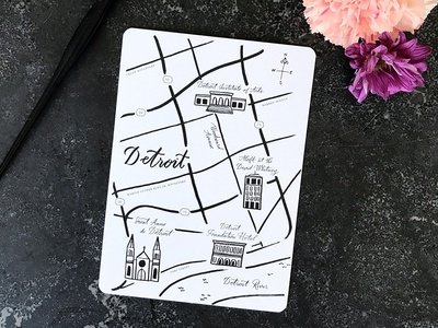 Hand Drawn Detroit Map