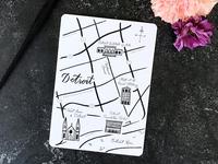 Hand Drawn Detroit Map