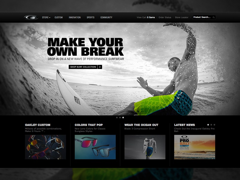 It's Alive!! New Oakley Surf Homepage surf oakley wave photoshop