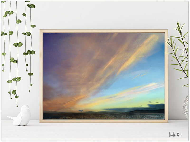 Blue Evening Sky Painting sale print water photoshop landscape inspiration colour concept colours design illustration digital painting
