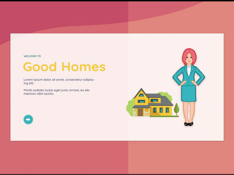 Real Estate Concept color home girl office pink landing page character web art