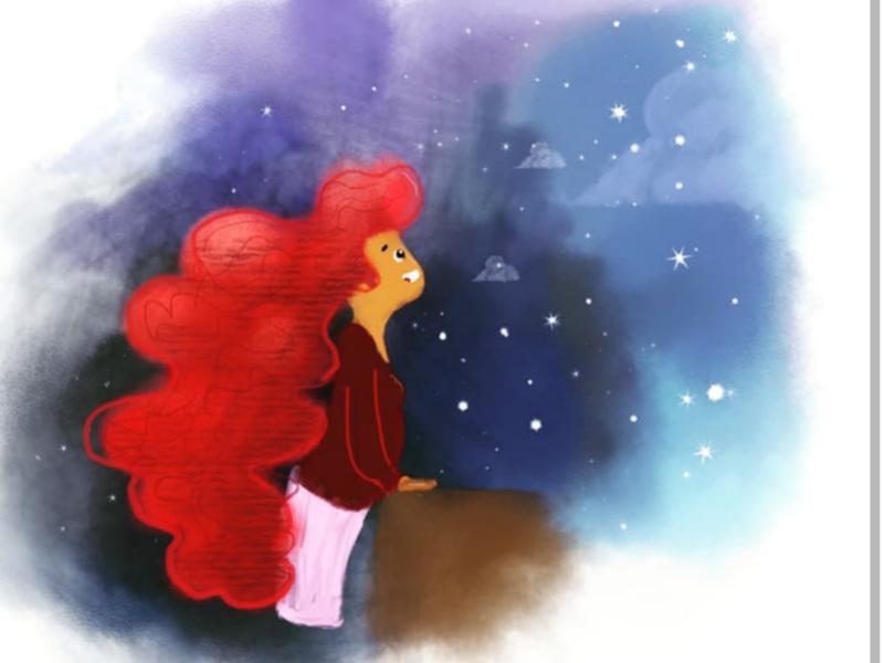 Stargazer painting art blue red star sky girl landingpage web illustrator illustration
