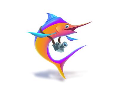 Happy Marlin design game graphic game art cartoons 2d art illustration art