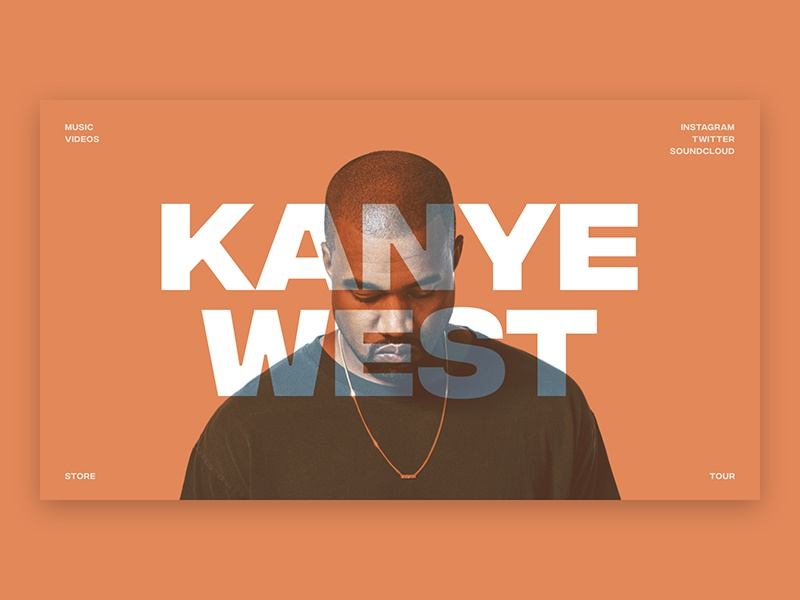 Kanye West Landing Page big type landing page kanye west caps minimal orange design web artist music west kanye