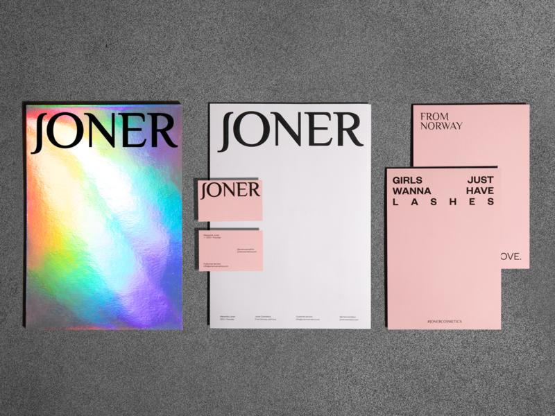 JONER stationery branding grid logotype printed matter pink identity design beauty cosmetics stationery paper print layout typography logo identity