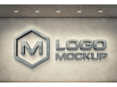 3d Wall Logo Mockups office mockup modern mockup metallic metal logo light display dark blue 3d logo