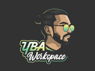 YBA Workspace Logo photography creative design face character alvi studio caricature vector portrait cartoon illustration