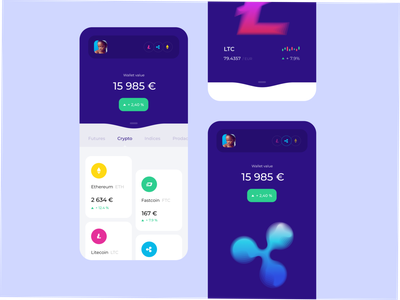 Trader Wallet ripple bitcoin litecoin ux trading wallet design crypto wallet wallet trading trade cryptocurrency crypto android application design ui ios application app