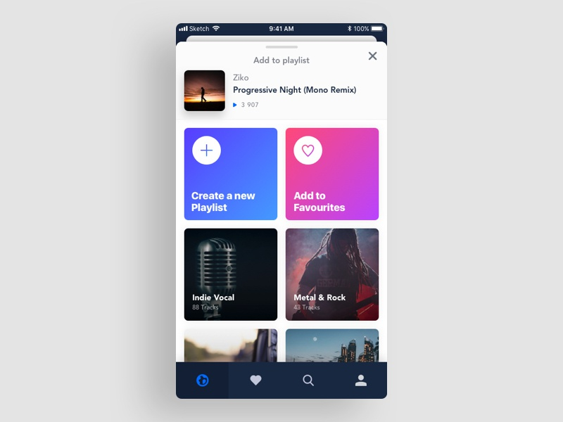 Add To Playlist modal add modal playlist thumbnails mobile app music