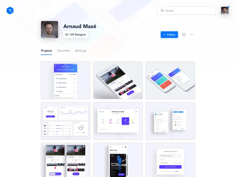 Profile Page - light version desktop ux ui follow search thumbnails user light profile concept