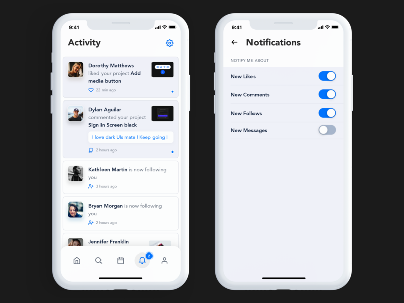 Activity Page clear ui light activity iphone 10 bottom menu toggles settings notification center design mobile ui ux