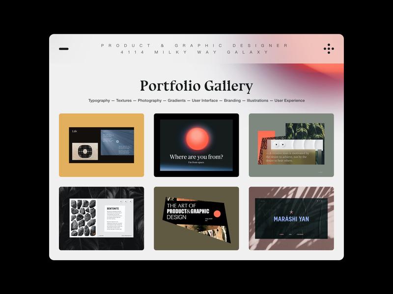 PORTFOLIO GALLERY flat vector typo web design page ui concept digital typography