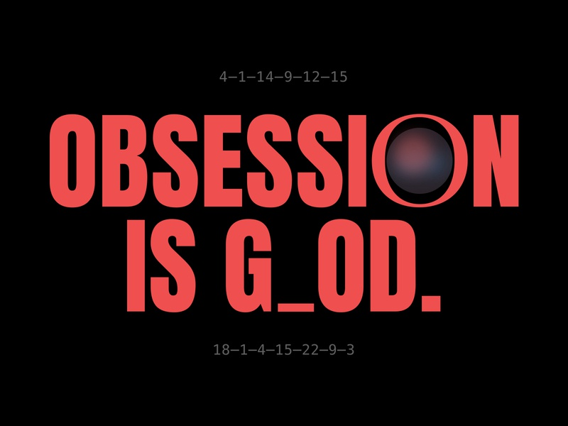 OBSESSION IS GOD flat vector typo concept abstract digital typography