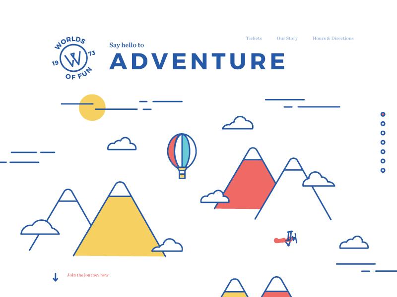 Worlds of Fun Homepage website design adventure amusement park clouds hot air balloon mountains worlds of fun