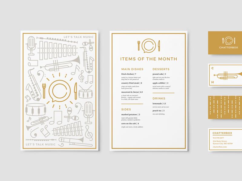Chatterbox Menu + Business Cards line menu