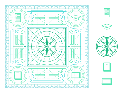 Earnest Guidebook icons compass pattern