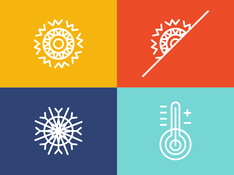 Weather Icons snowflake mild weather thermometer sun weather